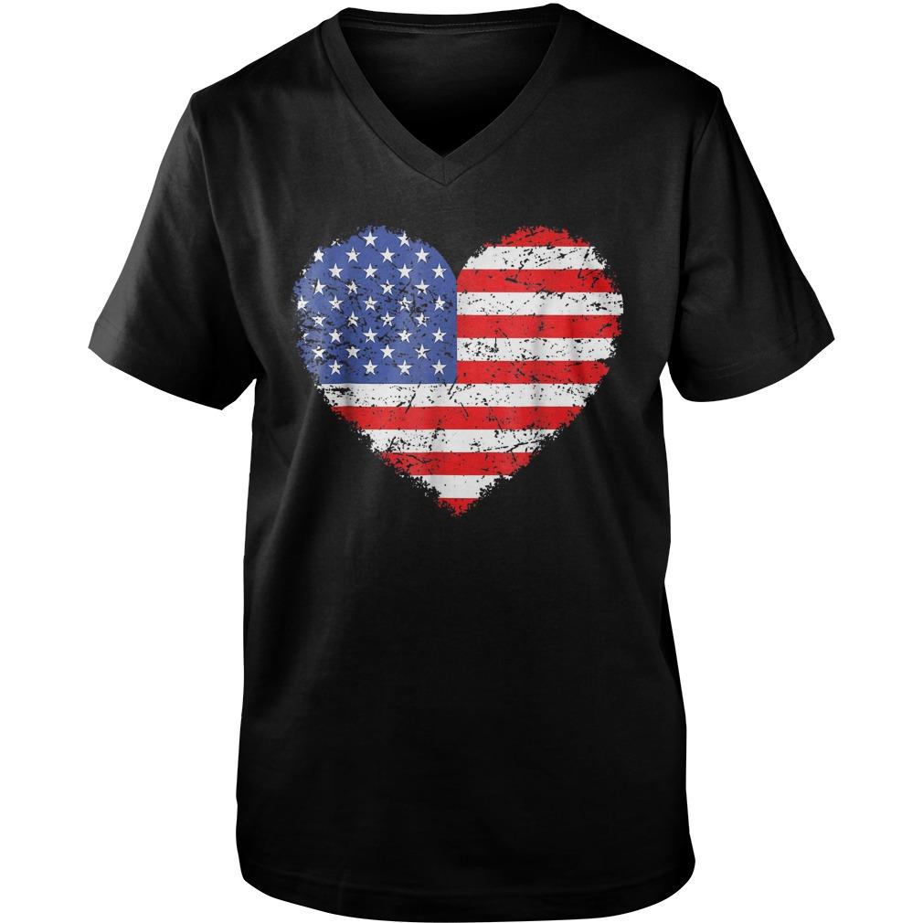 USA Flag Heart T-Shirt Guys V-Neck