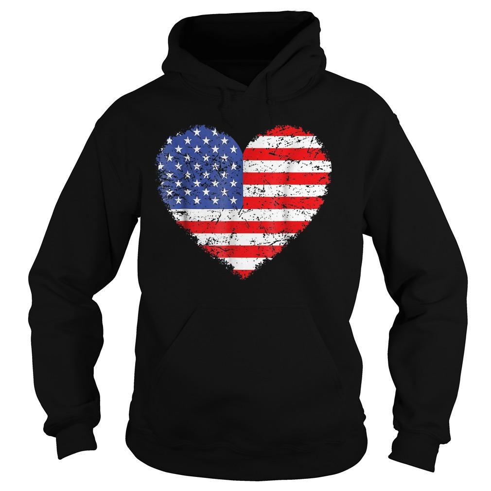 USA Flag Heart T-Shirt Hoodie