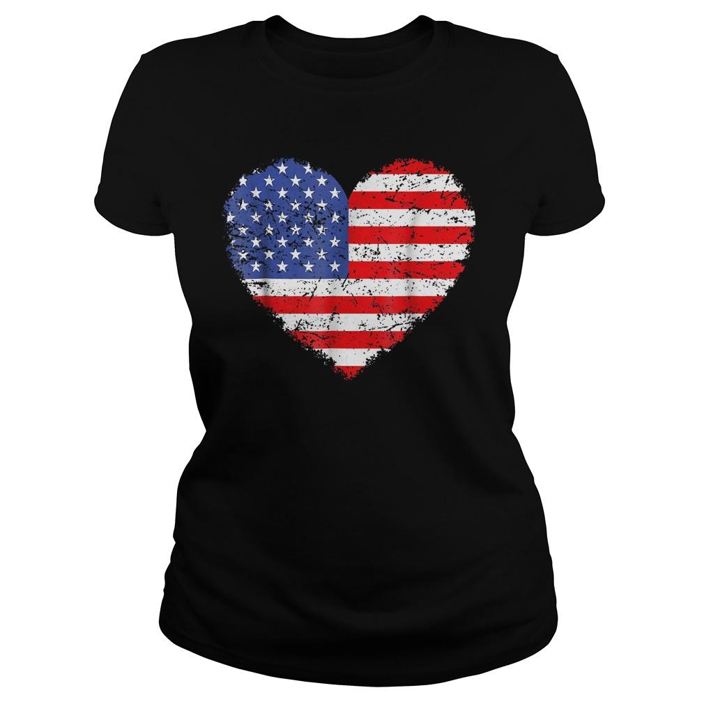 USA Flag Heart T-Shirt Ladies Tee