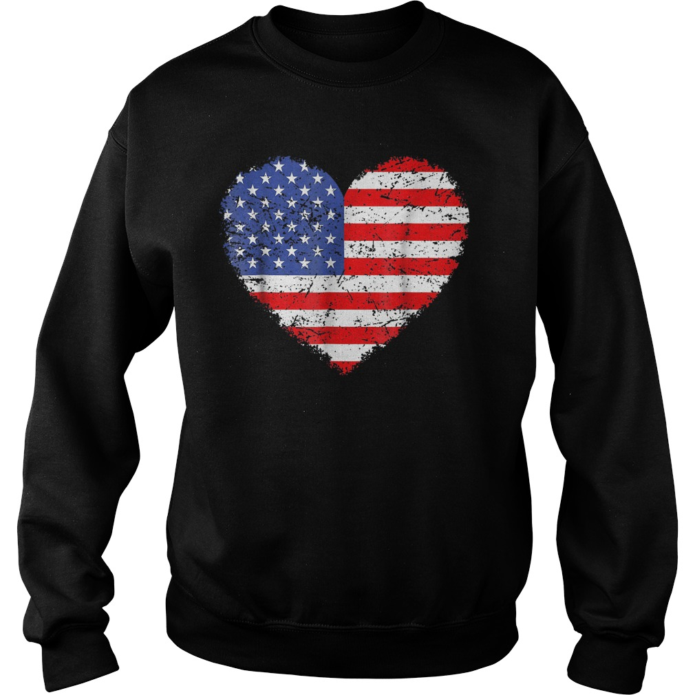 USA Flag Heart T-Shirt Sweat Shirt