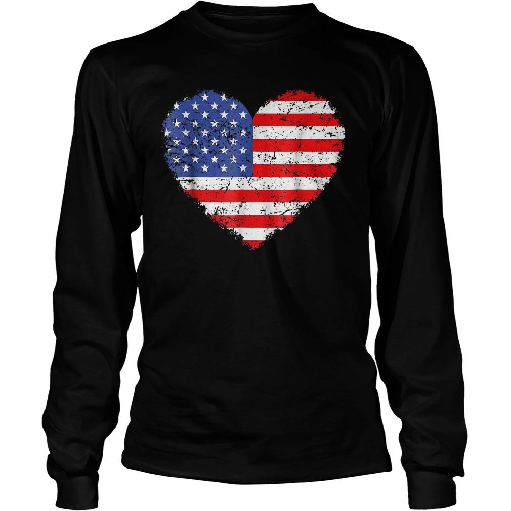 USA Flag Heart T-Shirt Unisex Longsleeve Tee