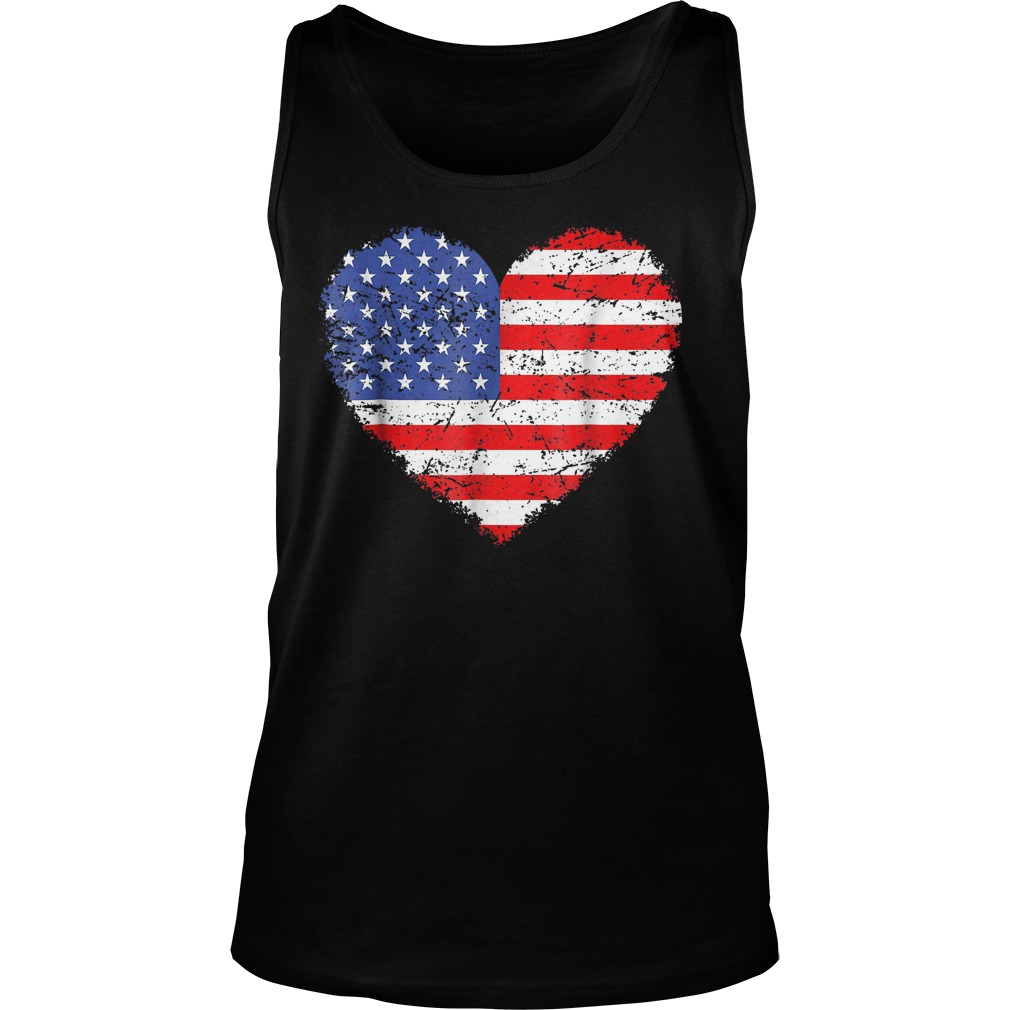 USA Flag Heart T-Shirt Unisex Tank Top