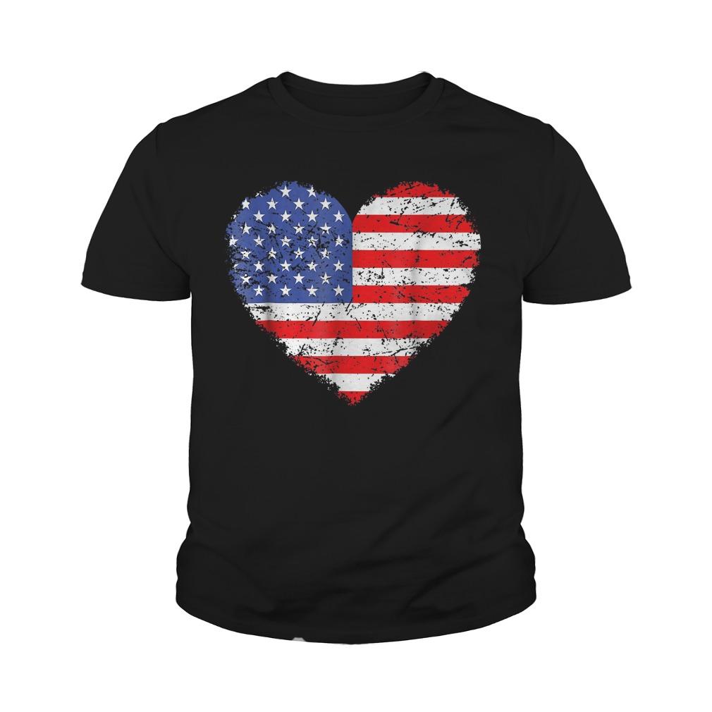 USA Flag Heart T-Shirt Youth Tee