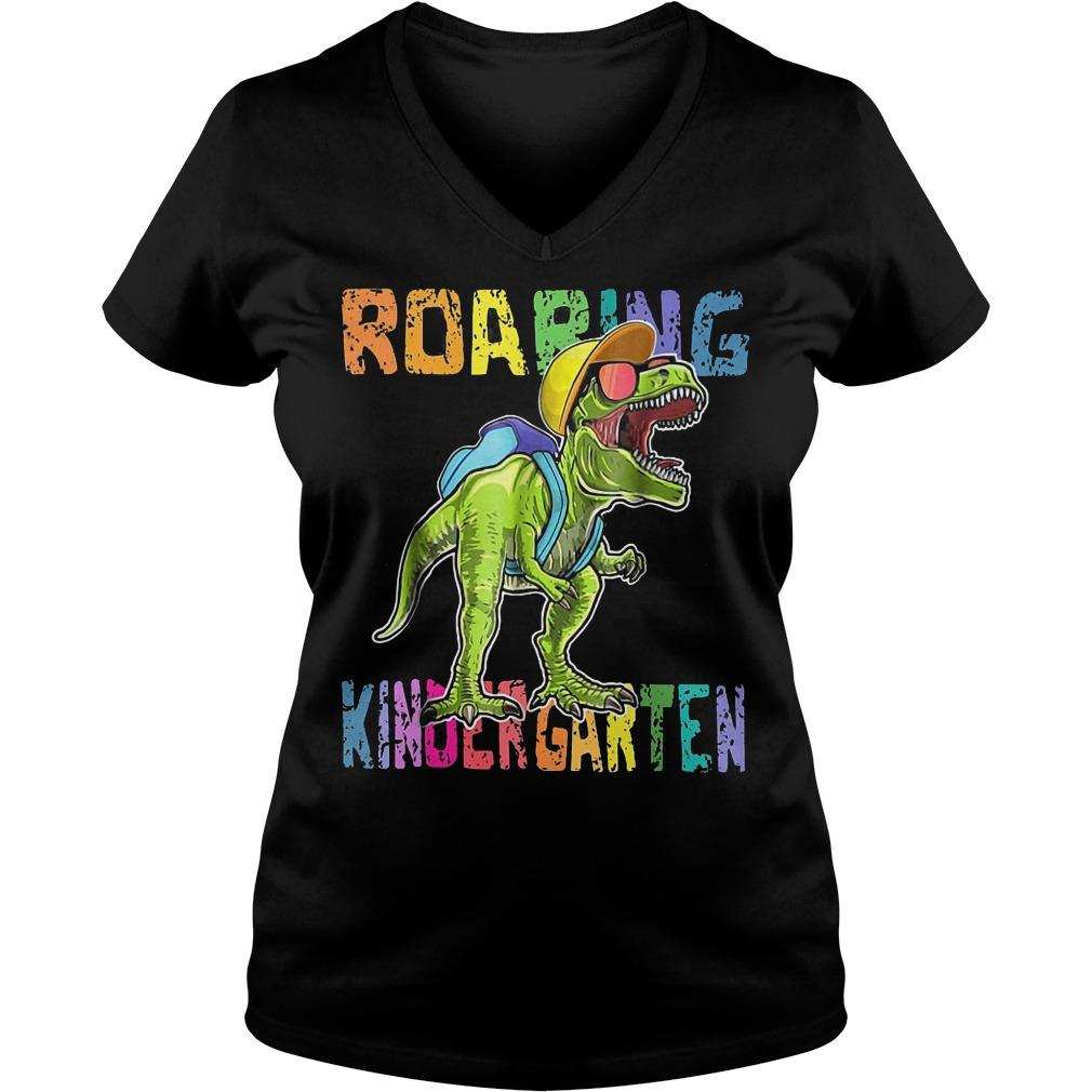 Back To School Roaring Kindergarten Dinosaur Shirt Ladies V-Neck