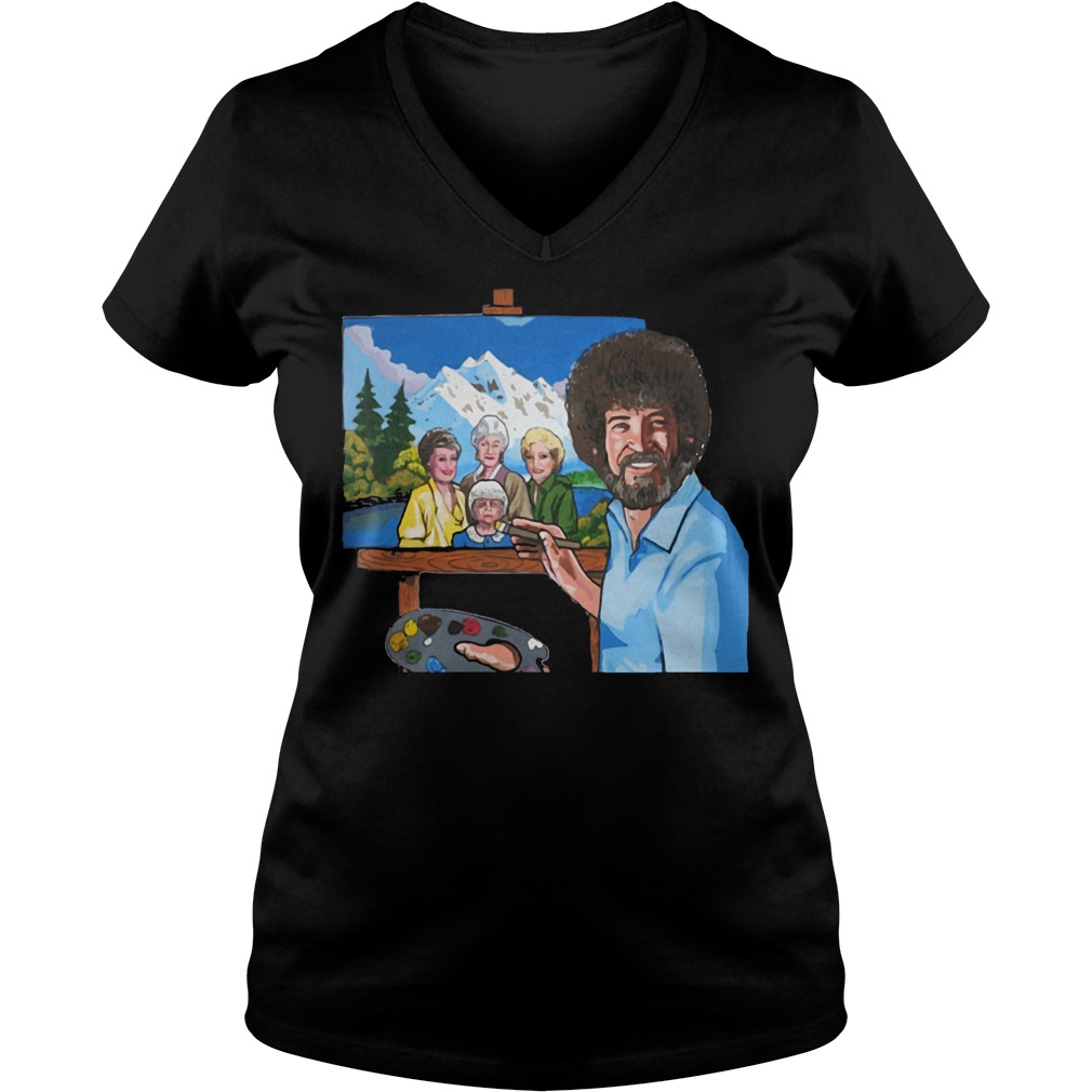 Bob Ross Painting The Golden Girl shirt Ladies V-Neck