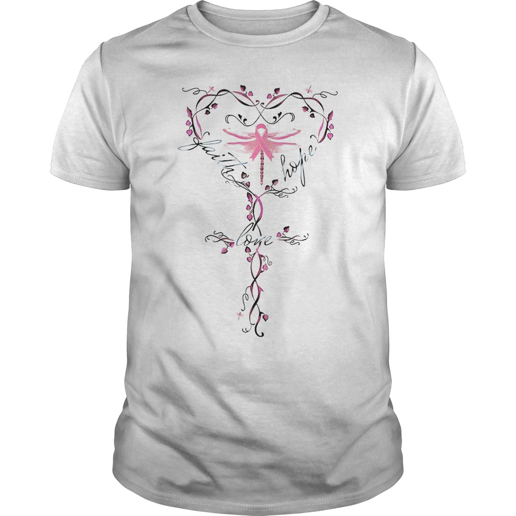 Breast Cancer dragon fly faith hope love shirt