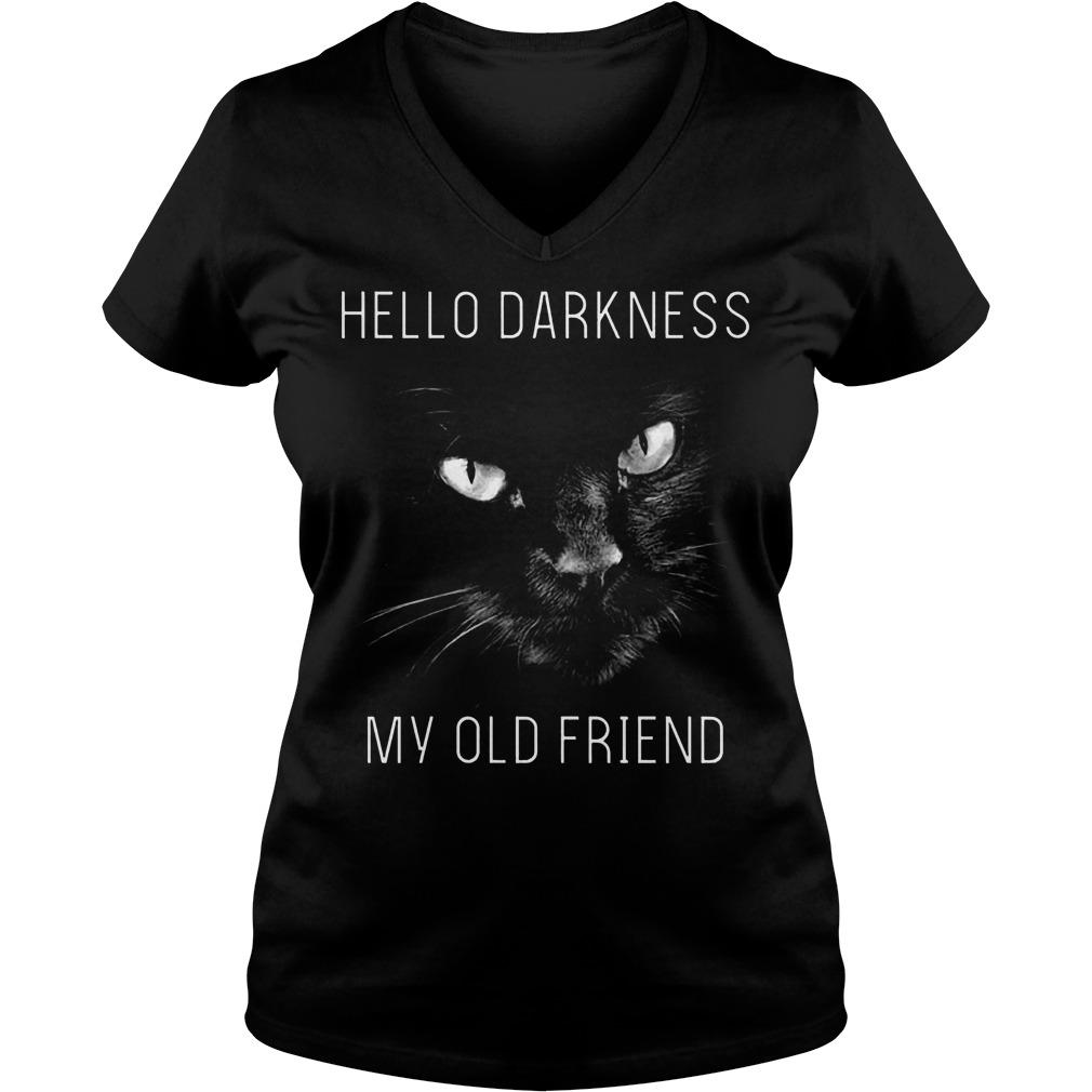 Cat Hello darkness my old friend Shirt Ladies V-Neck