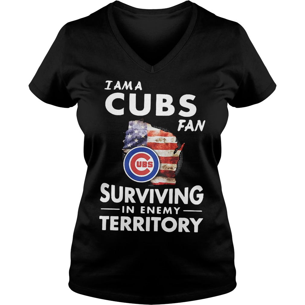 I am a Cubs fan surviving in enemy territory shirt Ladies V-Neck