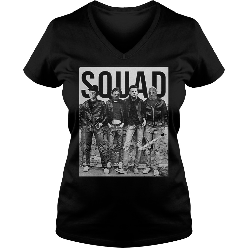 Michael Myers Jason Voorhees Freddy Krueger Leatherface Halloween Squad shirt Ladies V-Neck