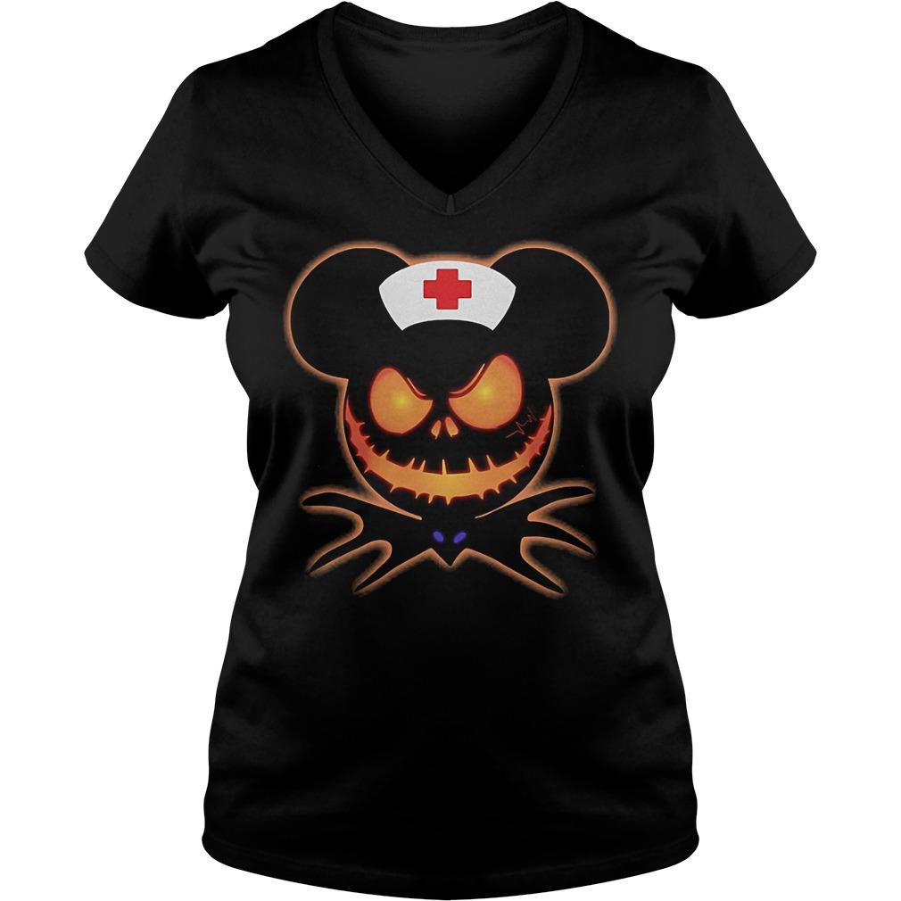 Mickey Nurse Pumpkin Jack Skellington shirt Ladies V-Neck