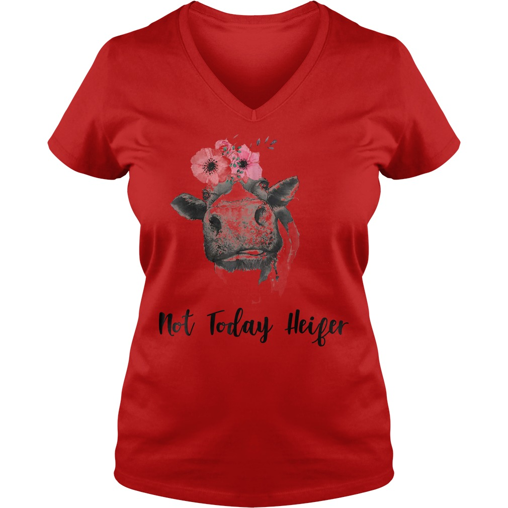 Not Today Heifer Farmer Cow Shirt Ladies V-Neck