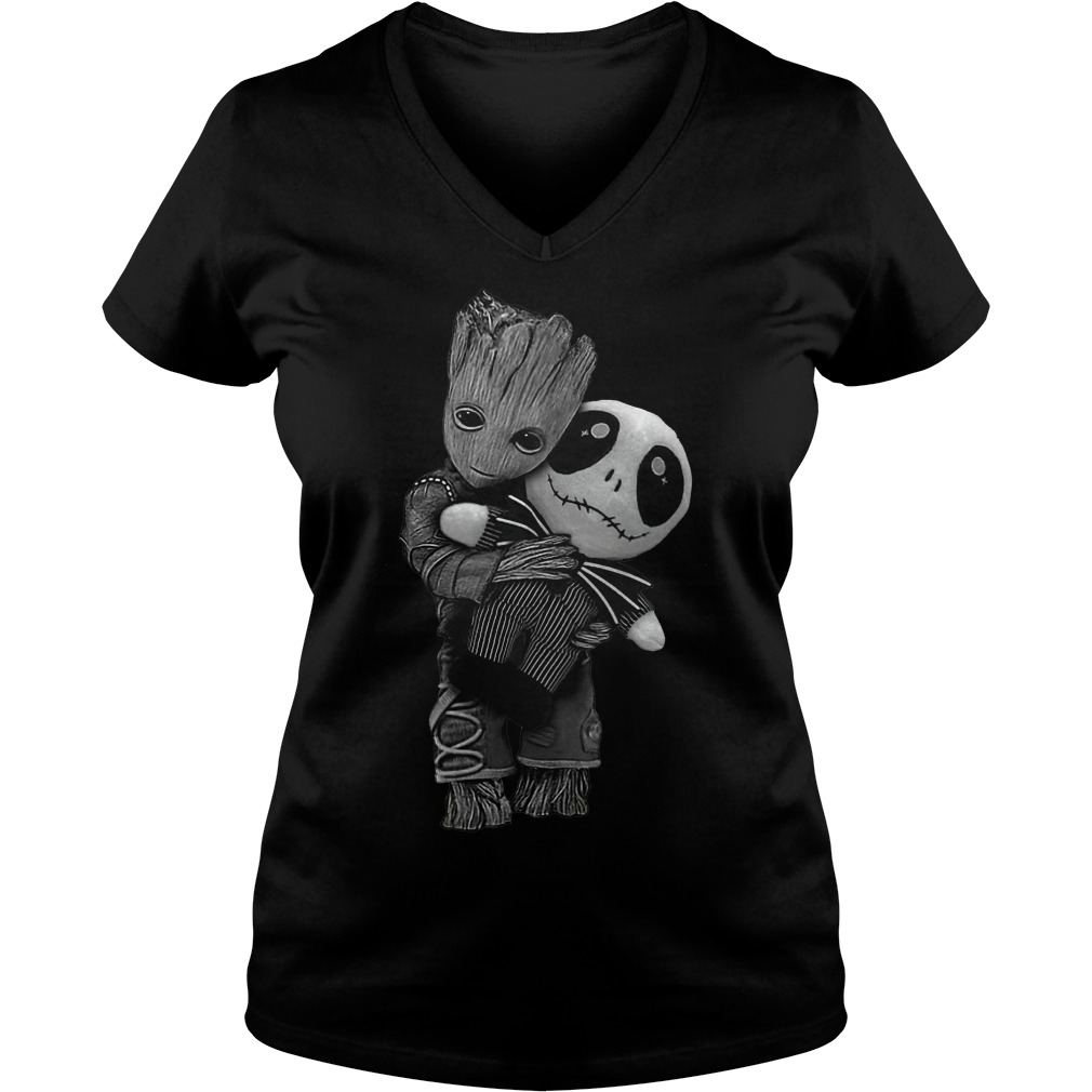 Baby Groot hug Jack Skellington dolly Shirt Ladies V-Neck