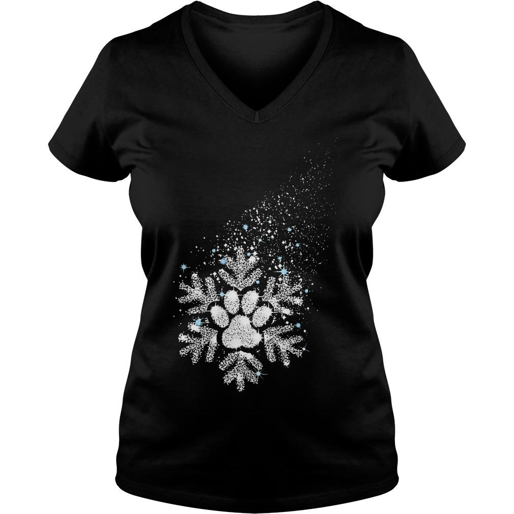 Dog snowflake shirt Ladies V-Neck