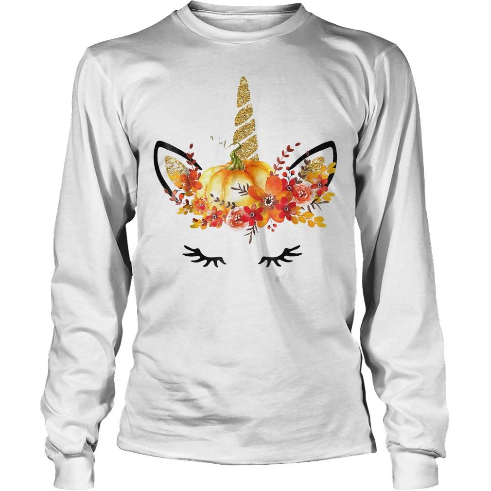 Halloween Unicorn Pumpkin Shirt Longsleeve Tee Unisex