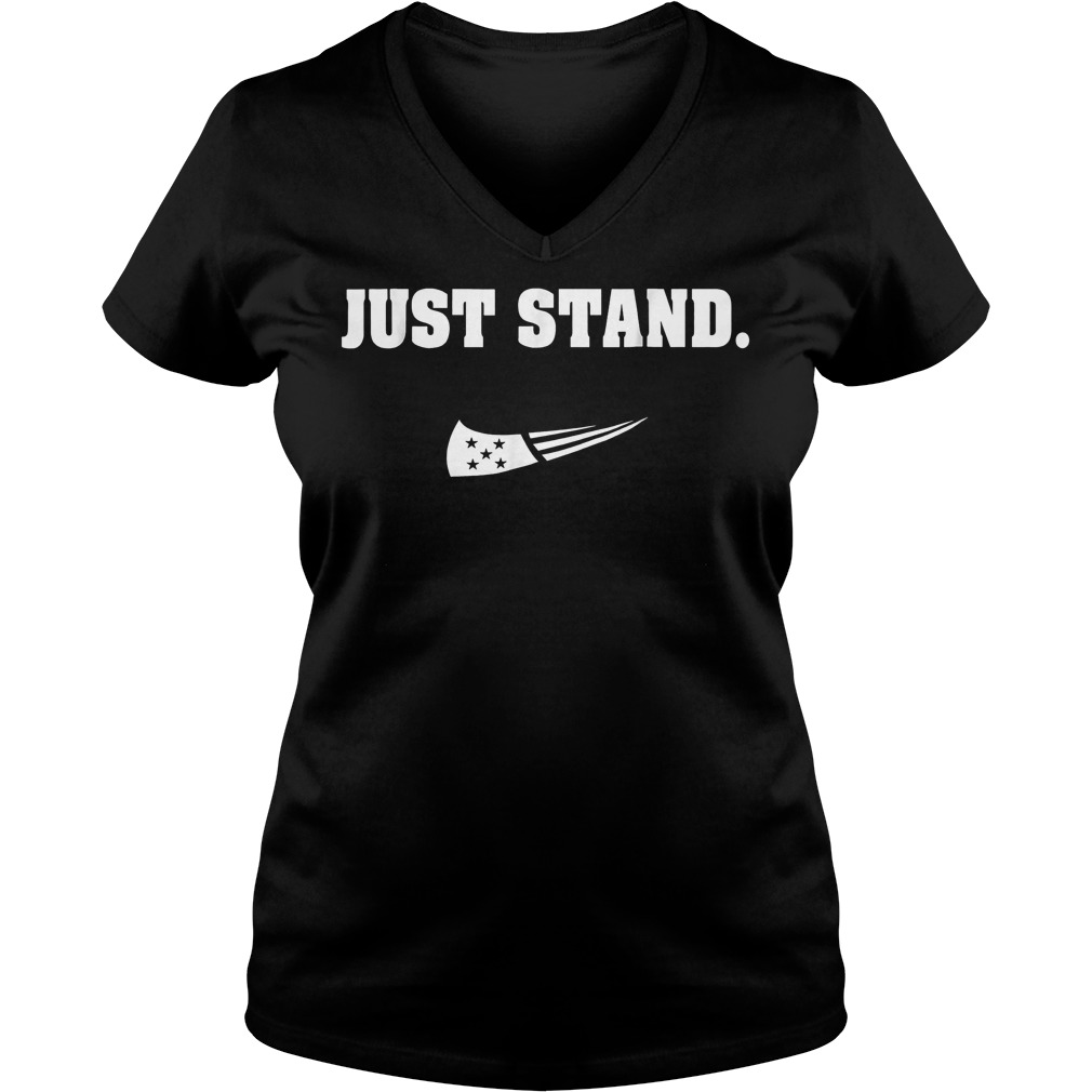 Just Stand Nike mashup american flag Shirt Ladies V-Neck