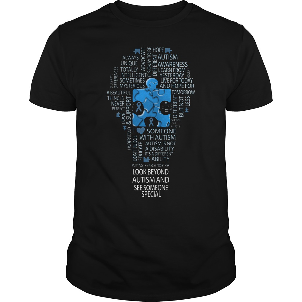 Light bulb stacked text cloud look beyond autism and see some one special shirt