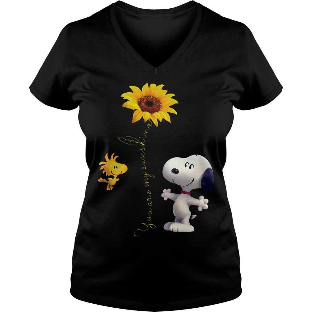 Sunflowers and Snoopy You are my sunshine Shirt Ladies V-Neck
