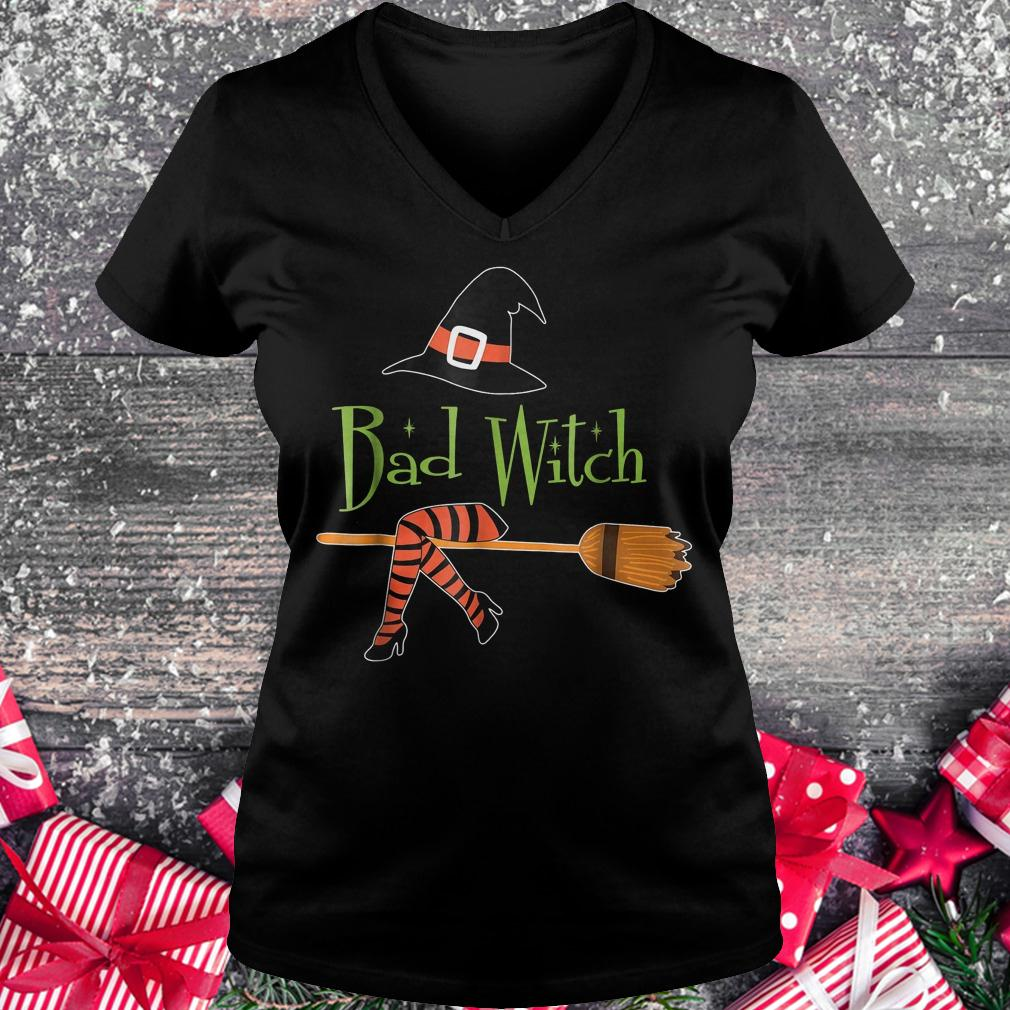 Bad witch halloween shirt Ladies V-Neck