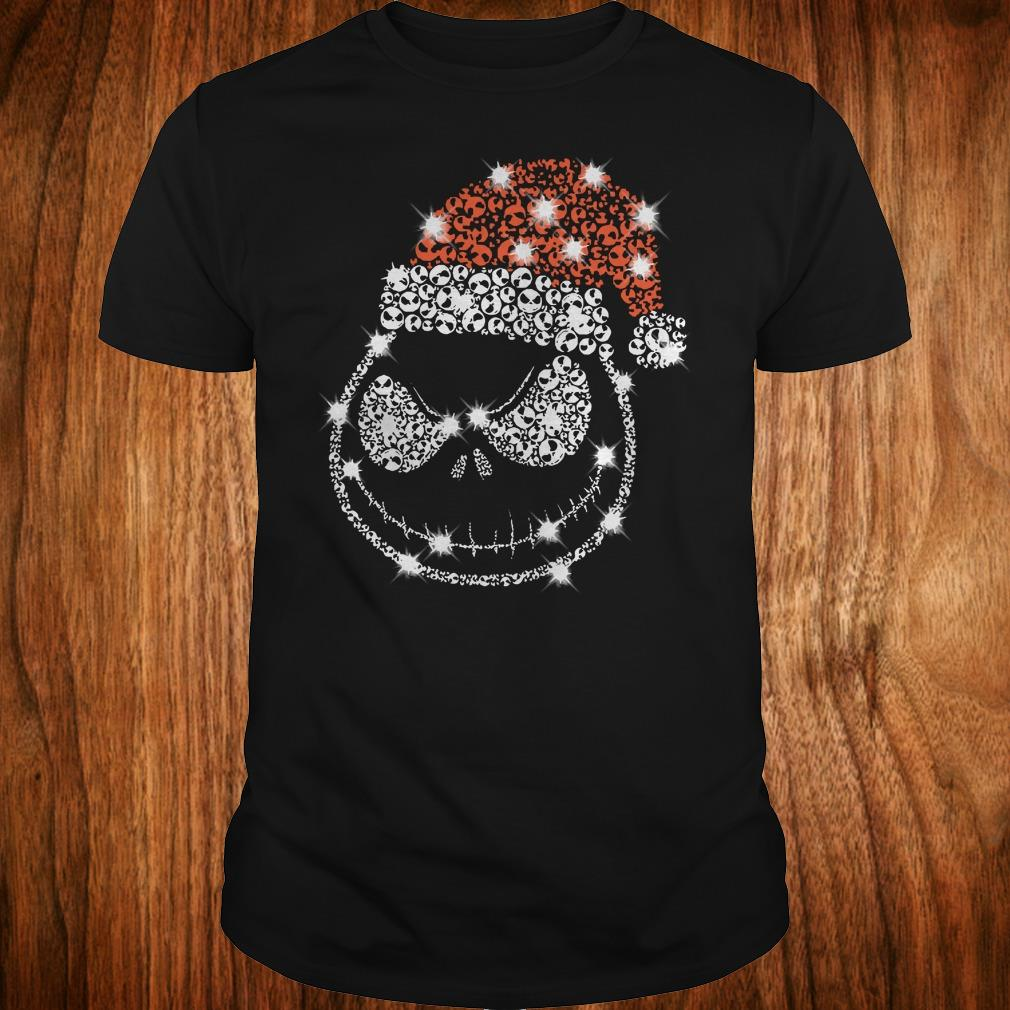 Best price Christmas Rhinestone Jack Skellington with Santa hat shirt