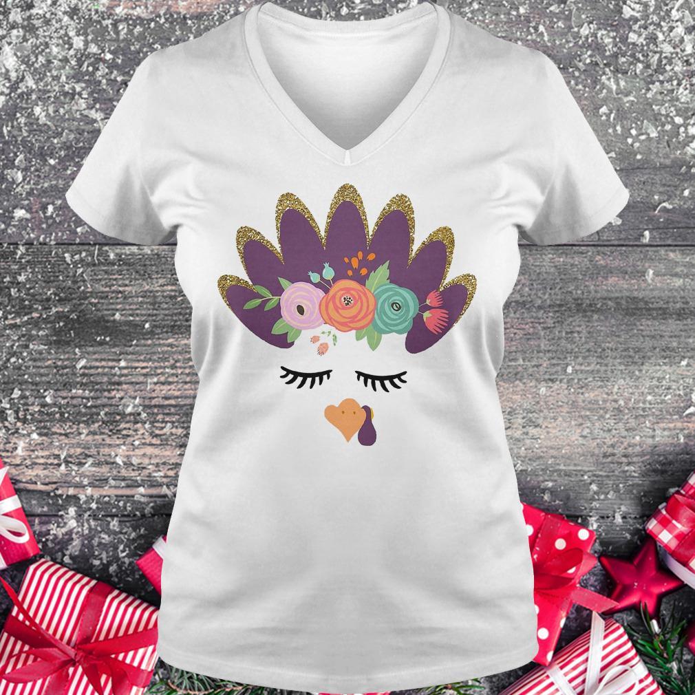Girls' glam Turkey shirt Ladies V-Neck