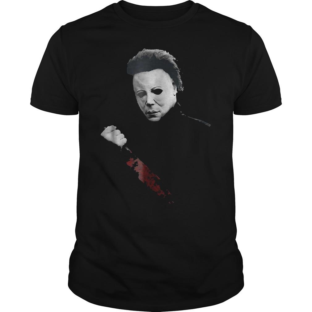 Halloween Michael Myers large knife shirt