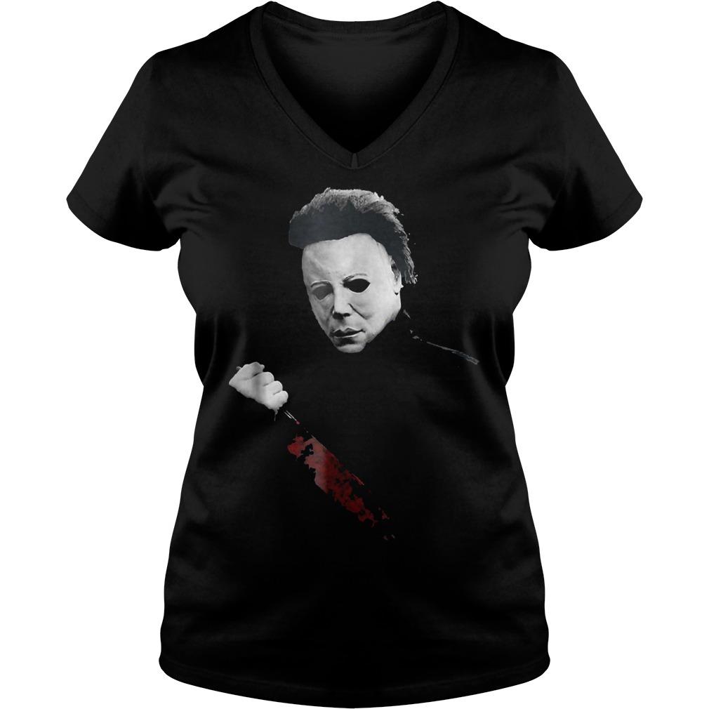 Halloween Michael Myers large knife shirt Ladies V-Neck