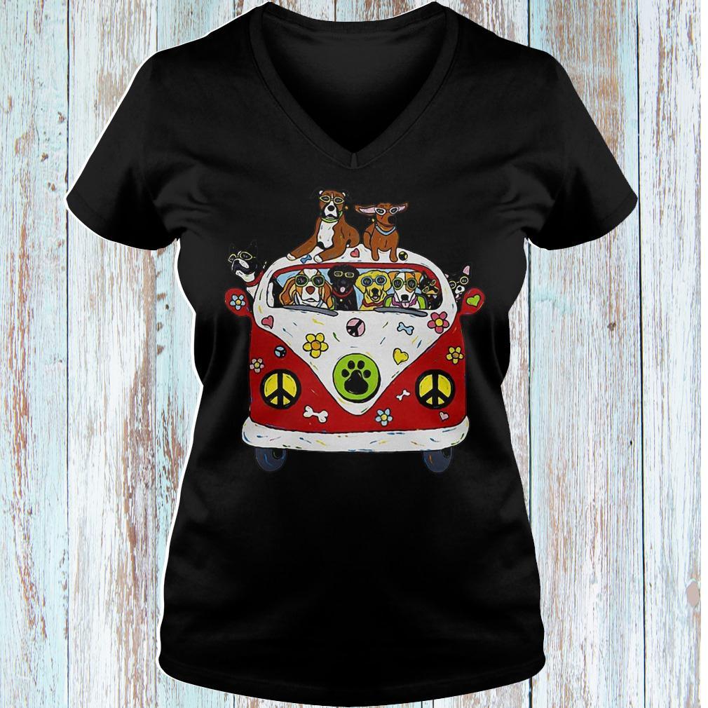 Hippie car dogs shirt Ladies V-Neck