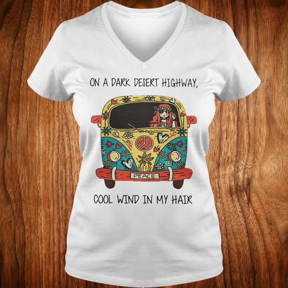 Nice Hippie car on a dark desert highway cool wind in my hair shirt Ladies V-Neck