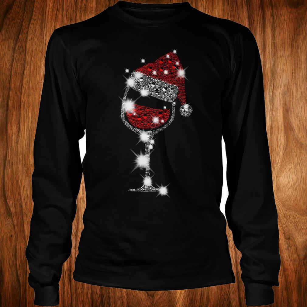 d7c5e04d6f7c1 Official Christmas Rhinestone Wine Glasses with Santa Hat shirt