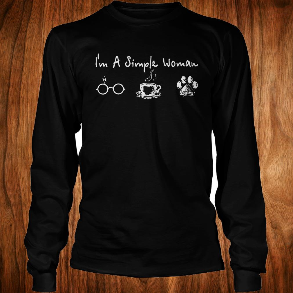 Official I'm a simple woman I like Harry Potter Coffee and Dog shirt