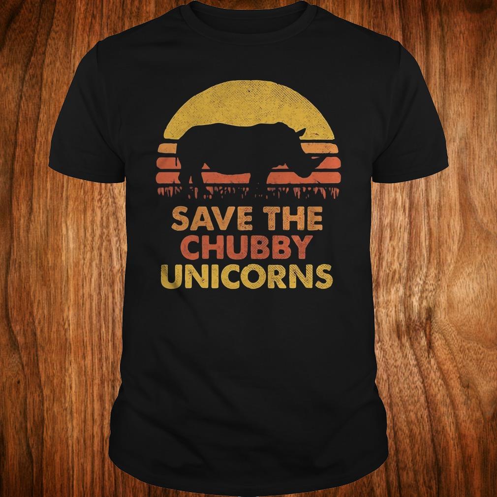 Original Retro Sunset Rhino save the chubby unicorns shirt
