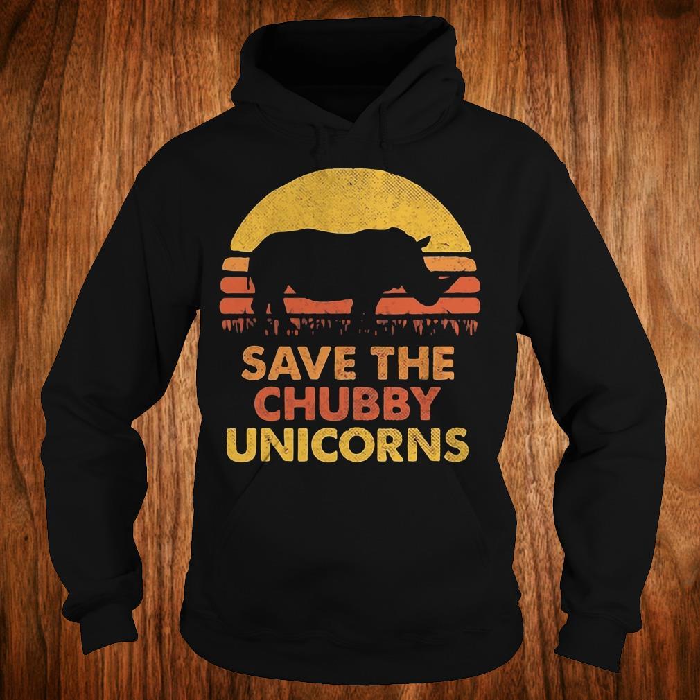 Original Retro Sunset Rhino save the chubby unicorns shirt Hoodie