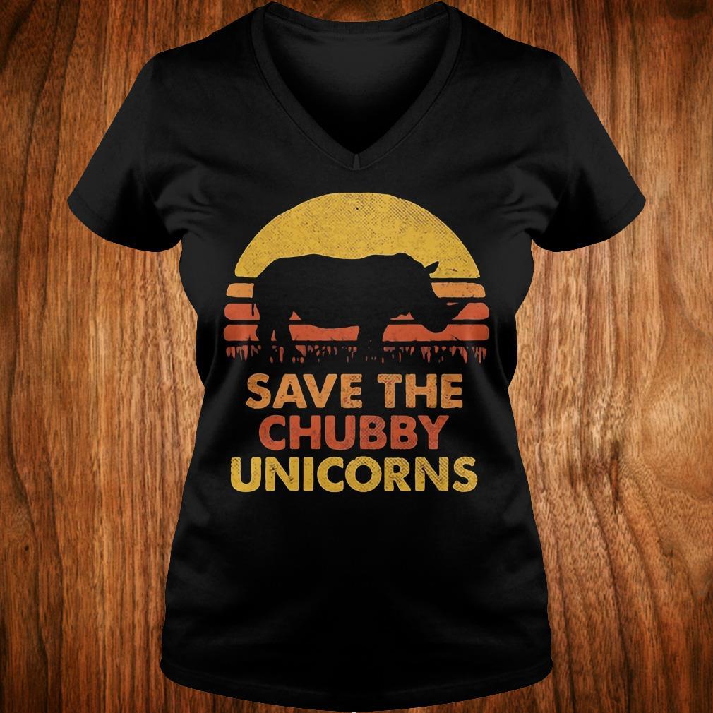 Original Retro Sunset Rhino save the chubby unicorns shirt Ladies V-Neck