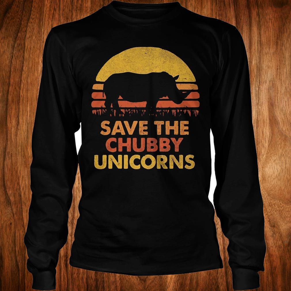 Original Retro Sunset Rhino save the chubby unicorns shirt Longsleeve Tee Unisex