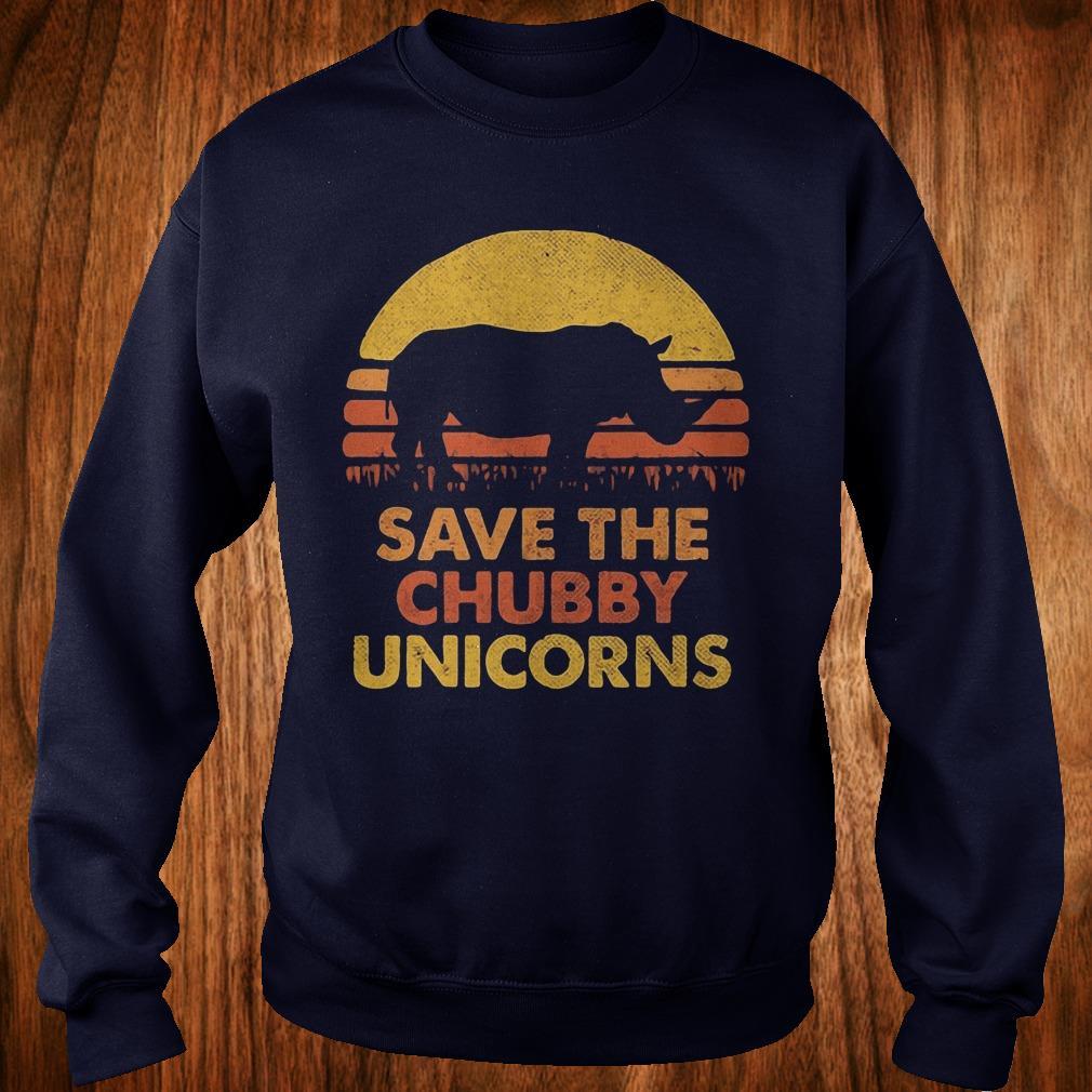 Original Retro Sunset Rhino save the chubby unicorns shirt Sweatshirt Unisex