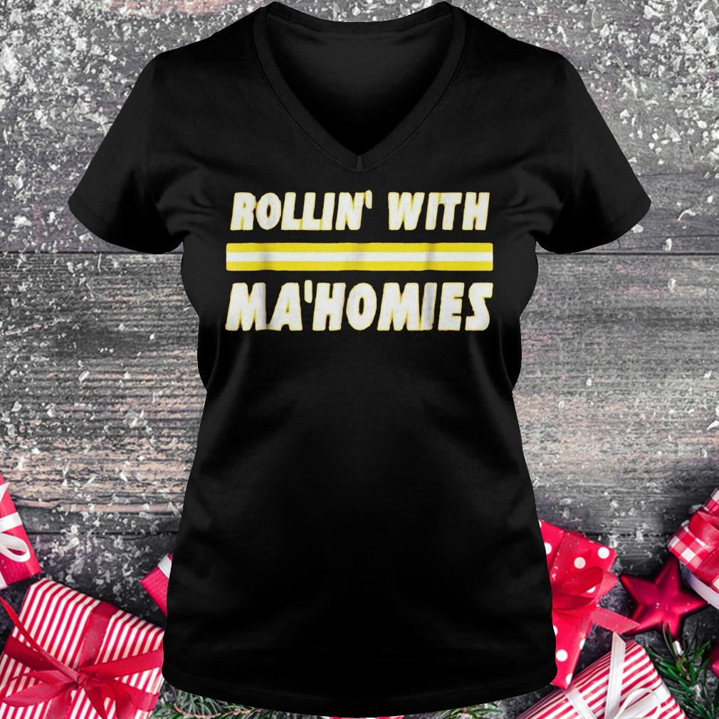 Rollin with Mahomies shirt Ladies V-Neck