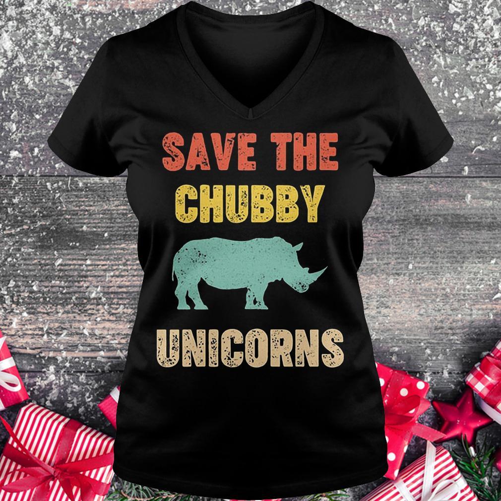 Save the Chubby unicorn shirt Ladies V-Neck