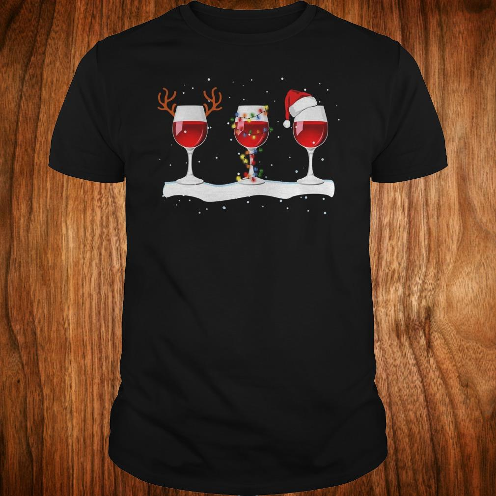 Top Three wine glasses with Christmas light, deer horn and Santa hat shirt