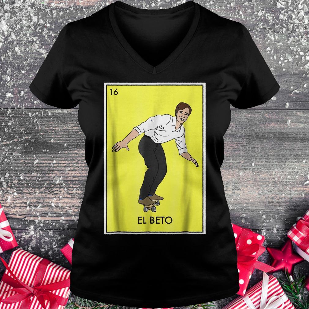 Vote for Beto Loteria card ORourke for Texas senate shirt Ladies V-Neck