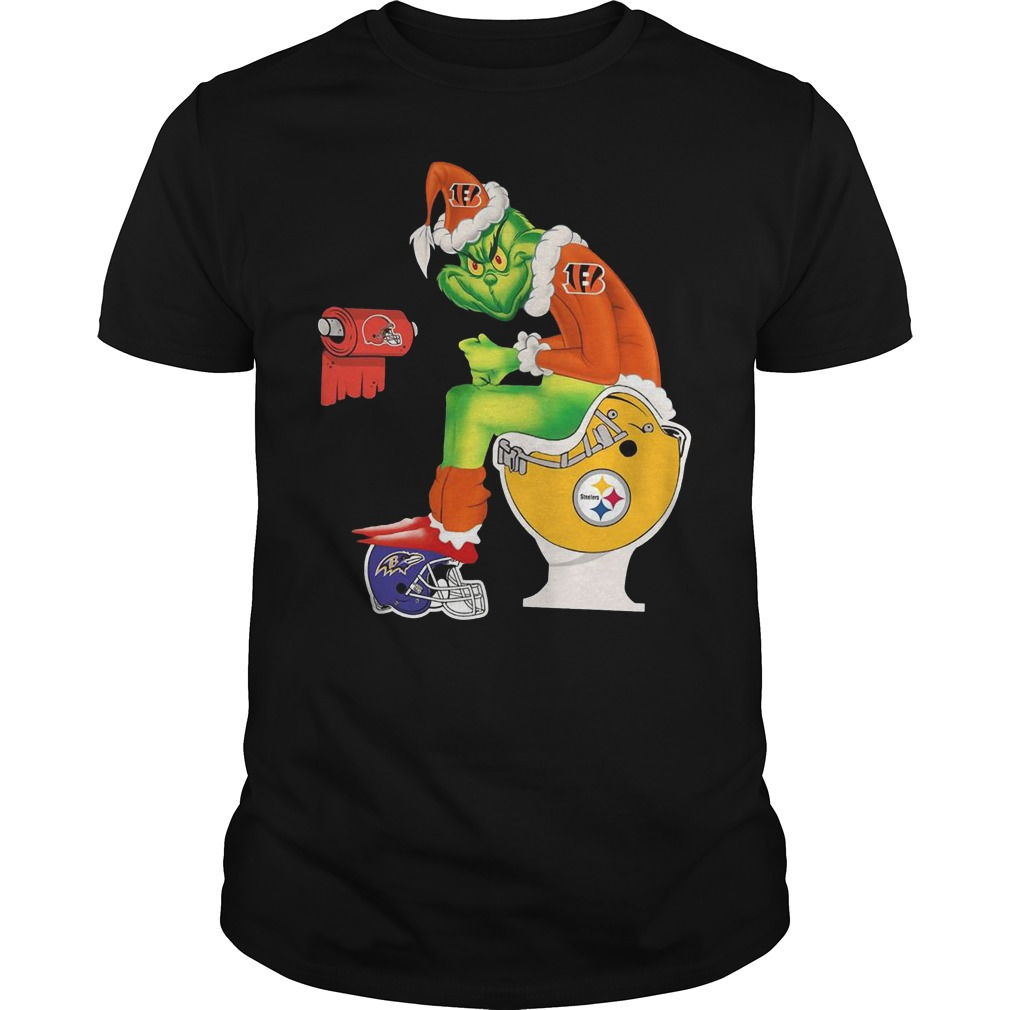 Best Price Cincinnati Bengals Grinch Santa Pittsburgh Steelers Toilet shirt Classic Guys / Unisex Tee
