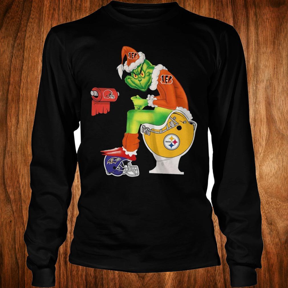 Best Price Cincinnati Bengals Grinch Santa Pittsburgh Steelers Toilet shirt Longsleeve Tee Unisex