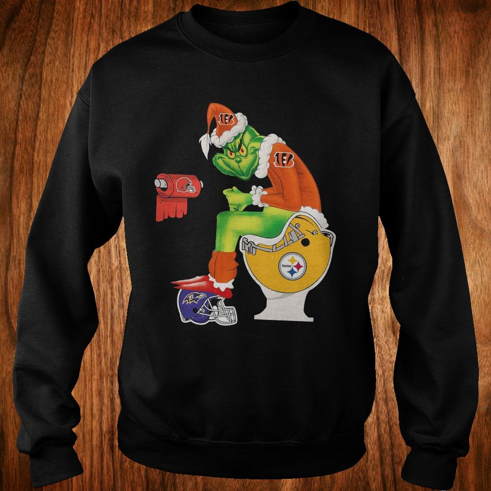 Best Price Cincinnati Bengals Grinch Santa Pittsburgh Steelers Toilet shirt Sweatshirt Unisex
