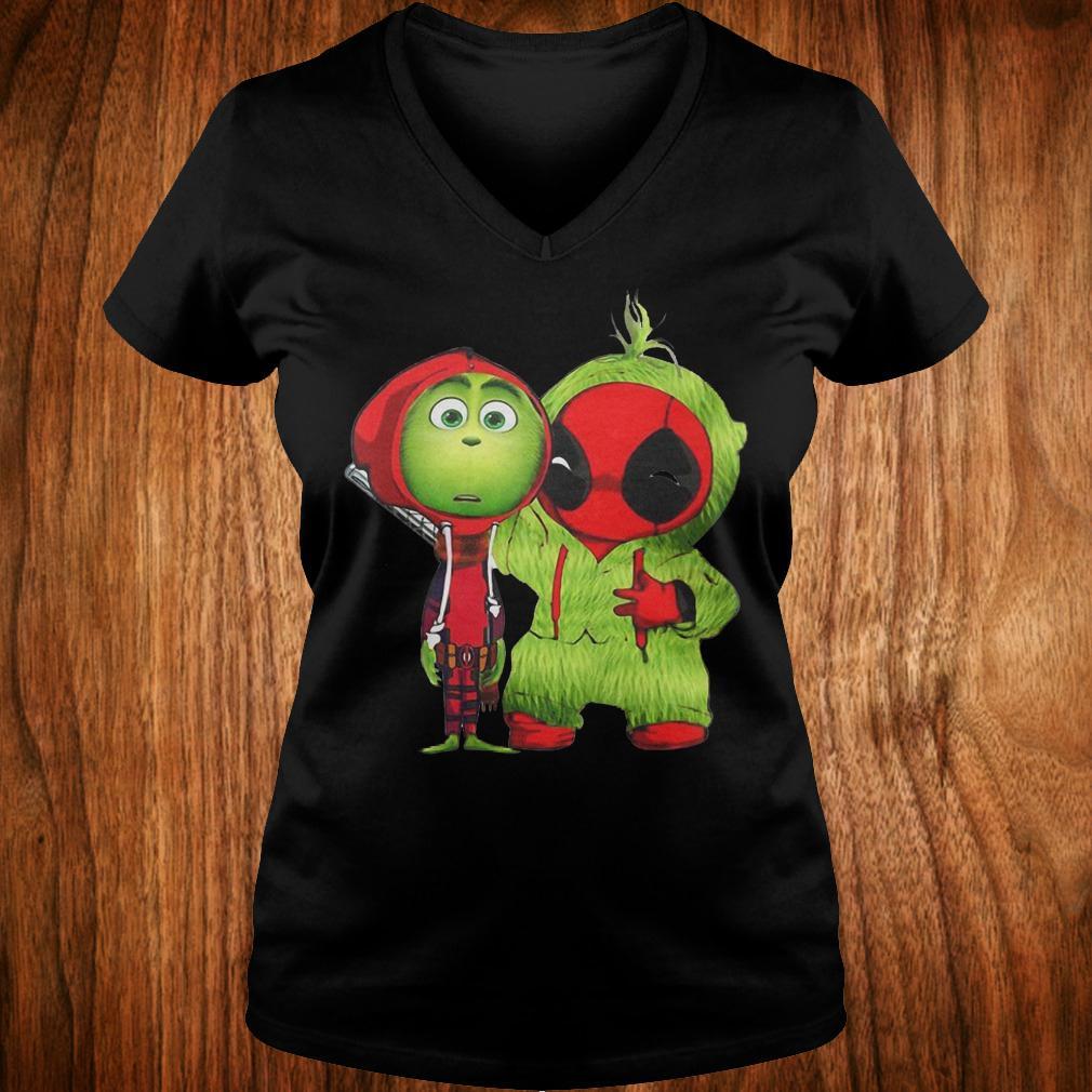 Best Price Grinch Baby Deadpool shirt Ladies V-Neck