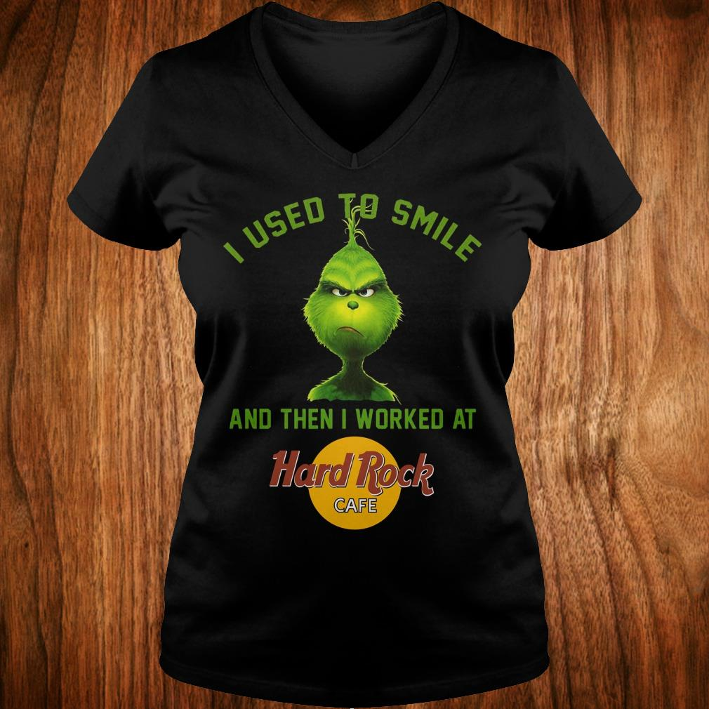 Cute Grinch I used to smile and then i worked at Hard Rock cafe shirt Ladies V-Neck