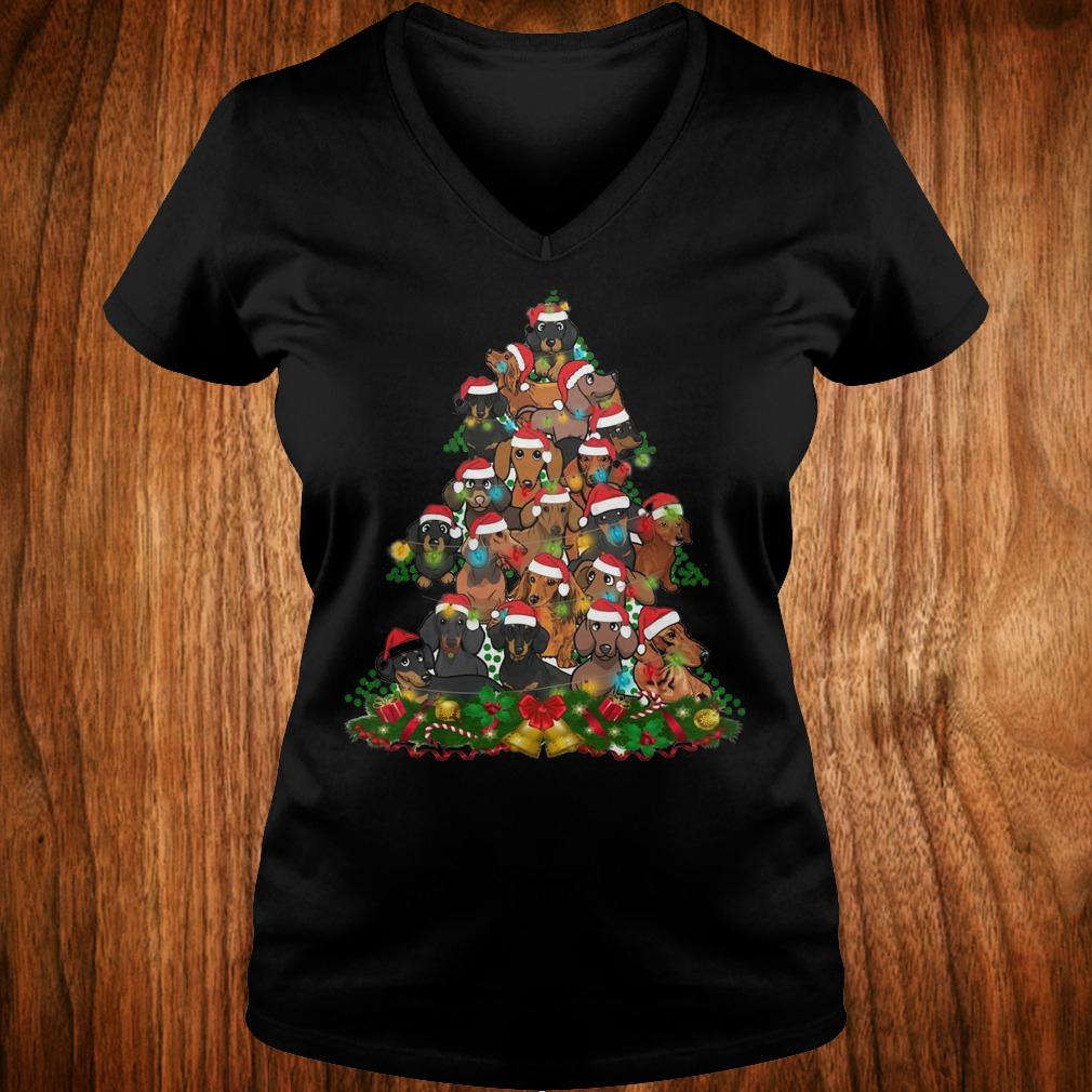 Dachshunds Christmas Tree shirt Ladies V-Neck