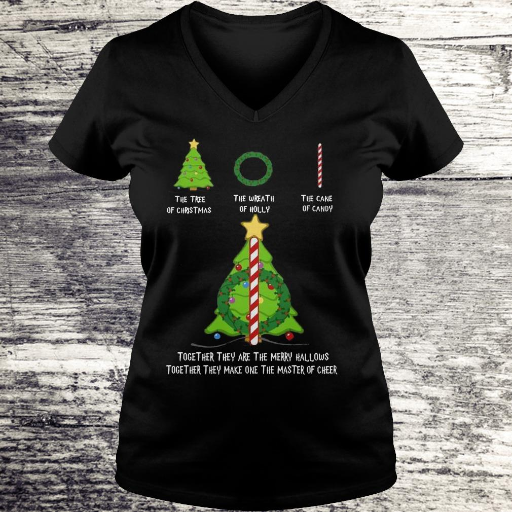 Nice Harry Potter The tree of christmas the wreath of holly the cane of candy shirt Ladies V-Neck