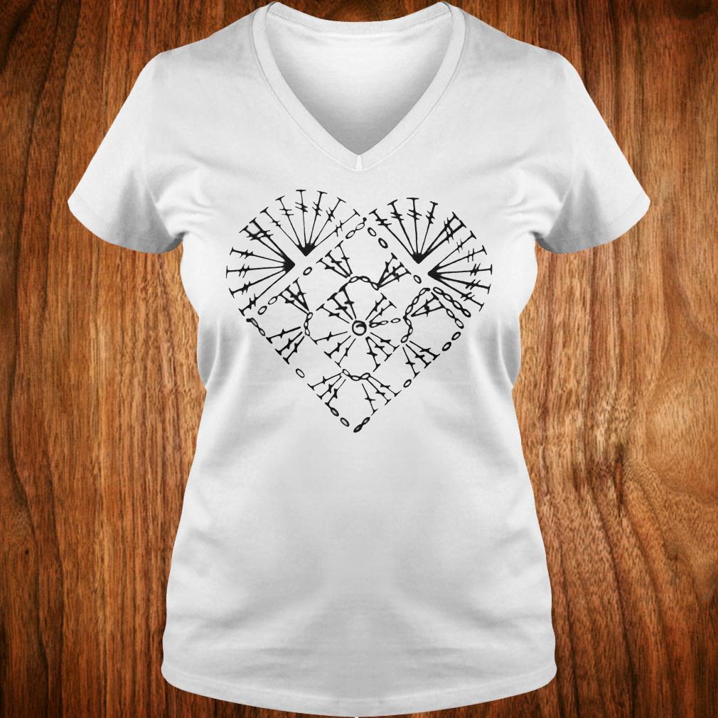Official Crochet heart chart shirt Ladies V-Neck