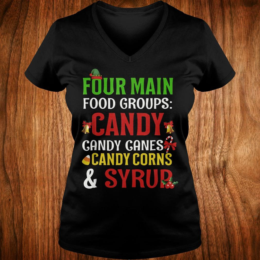 Official Four Main Food Groups candy canes corns syrup shirt Ladies V-Neck