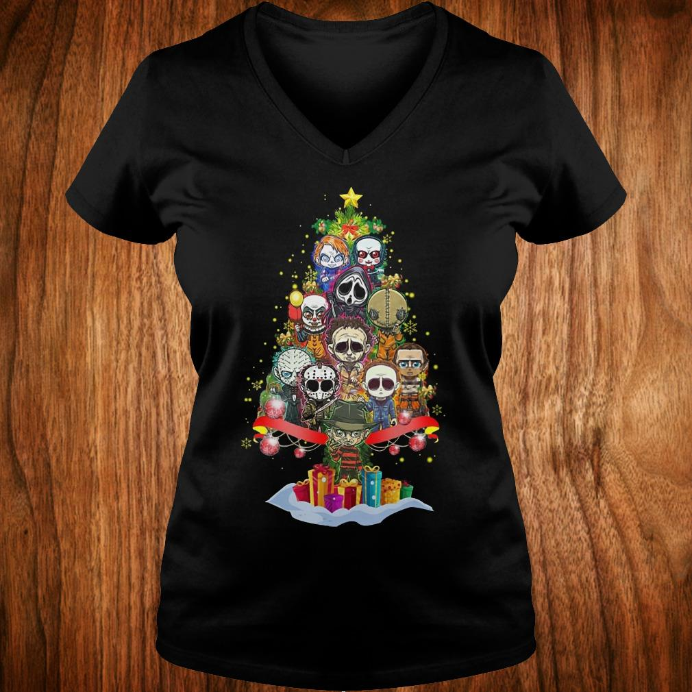 Official Horror characters nightmare christmas tree shirt Ladies V-Neck