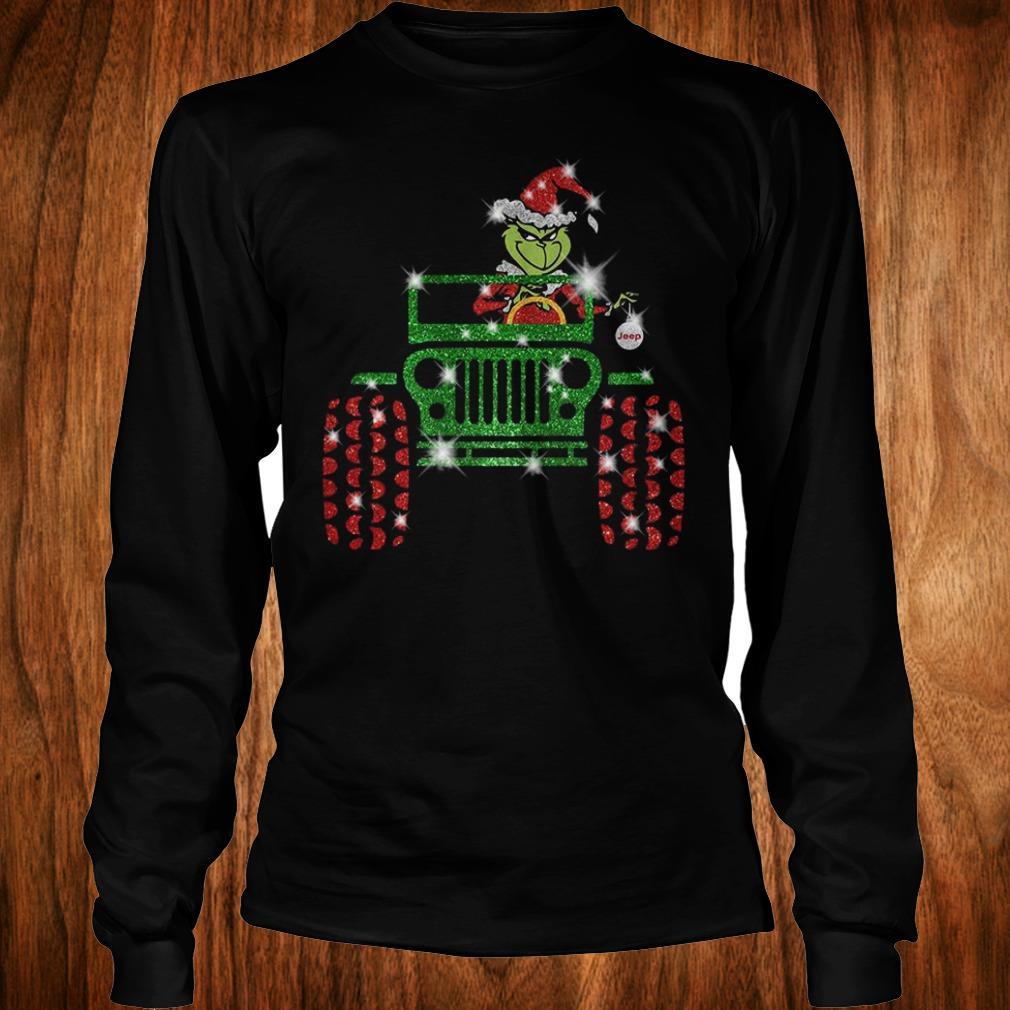 e88a1529b718 Original Grinch Jeep sparkly glitter shirt, hoodie, sweater, sweatshirt